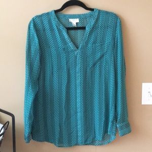 Teal patterned blouse